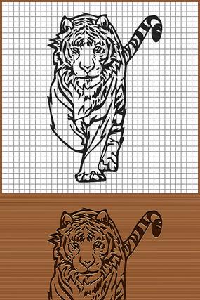 森林之王老虎矢量雕刻纹身图案