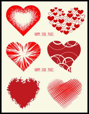 矢量红色心形图案图形设计