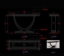 实木玄关桌神龛桌子家具CAD图库