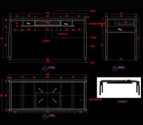 新中式家具玄关桌餐椅CAD家具