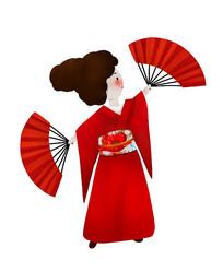 原创大红服装跳扇舞女孩