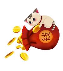 原创金币钱袋招财猫新年素材