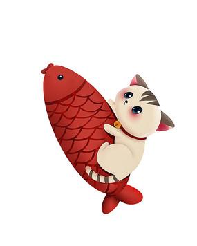 原创可爱卡通猫大红鱼