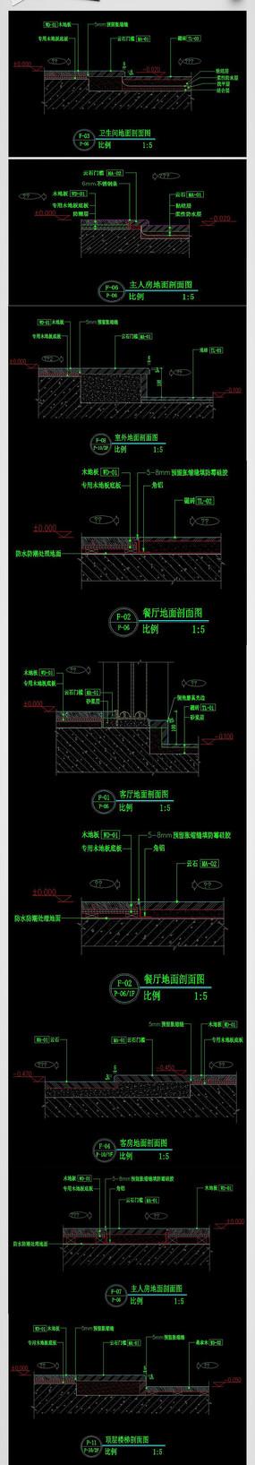 CAD地面铺装施工图