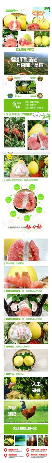 福建平和蜜柚红柚主图详情页设计