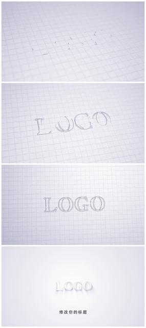 铅笔草图绘制logo标志演绎视频模板
