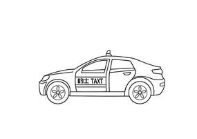 原创手绘扁平卡通风格出租车线稿插画