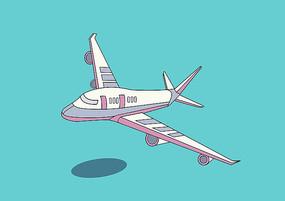原创手绘粉紫色扁平卡通风格飞机插画