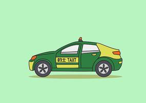 原创手绘黄绿色扁平卡通风格出租车插画