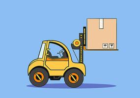原创手绘黄色扁平卡通搬运货物的叉车插画