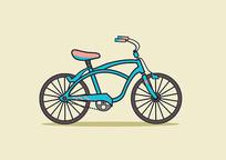 原创手绘蓝粉色扁平卡通风格自行车插画