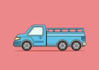 原创手绘蓝色扁平卡通风格货车插画