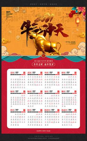 中国风古典2021年牛年挂历