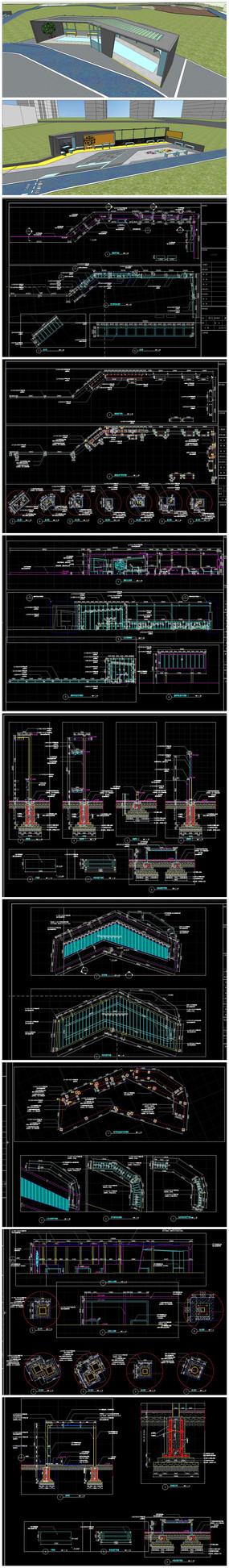 休闲廊架异形展廊模型和施工图