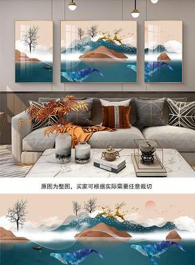 北欧地中海手绘鲸鱼三联客厅装饰画