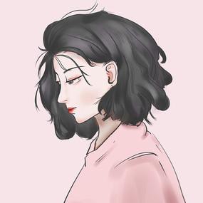 粉色短发侧脸美女人物手绘插画