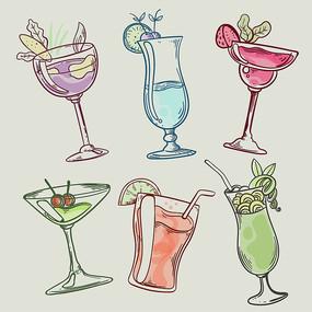 美食鸡尾酒饮料矢量手绘插画
