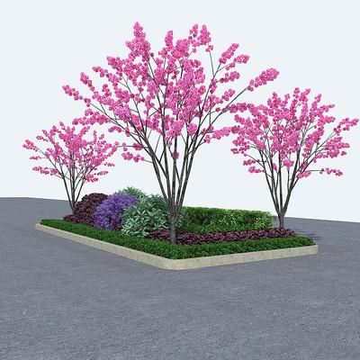 乔木灌木花坛3D模型