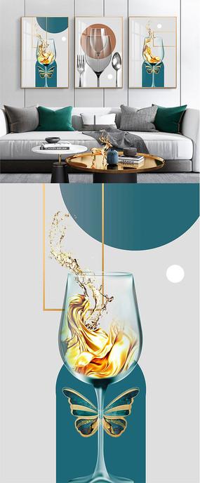 现代简约抽象轻奢金色酒杯餐厅装饰画
