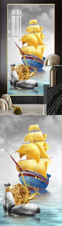 现代轻奢中式意境一帆风顺金帆玄关装饰画