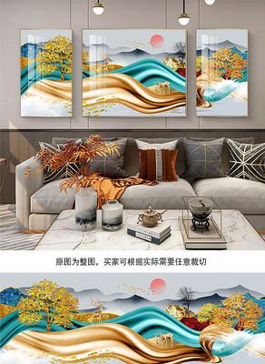 新中式烁金黑白麋鹿发财树满堂三联装饰画