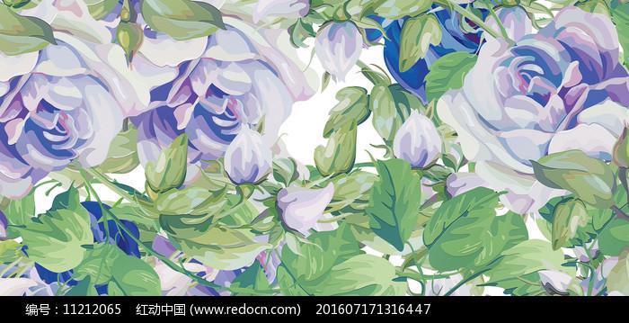 高端大气蓝色欧式彩色花卉背景墙图片