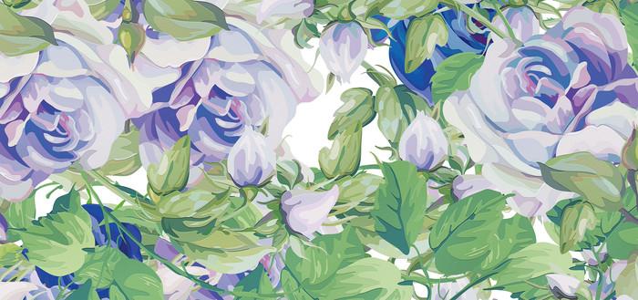 高端大气蓝色欧式彩色花卉背景墙