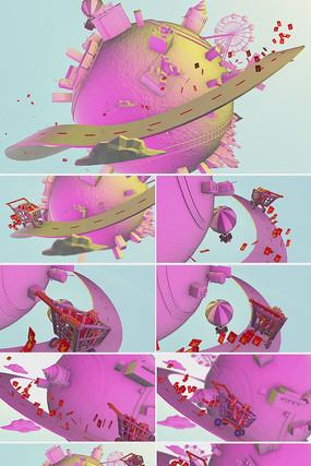 双十一电商促销广告卡通片头视频模板