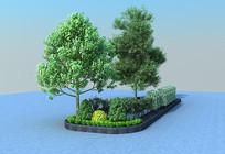 现代花坛植物3D模型