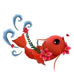 原创大红可爱卡通鱼