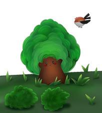 原创可爱卡通绿色树植物
