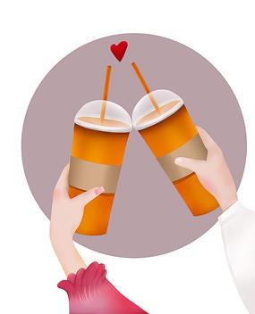 原创手绘两杯饮料温馨爱