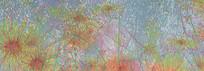 高端大气彩色菊花油画背景墙