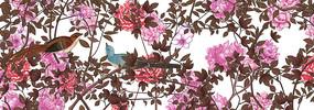 高端大气红色花鸟工笔画背景墙