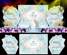 时尚婚礼舞台背景板设计