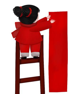 原创大红可爱卡通女孩贴新年对联