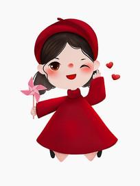原创可爱卡通大红欢快跳跃风车女孩