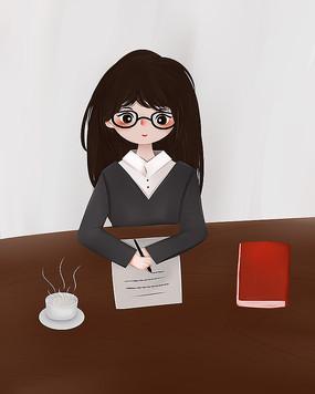 原创书桌上写字学习女士