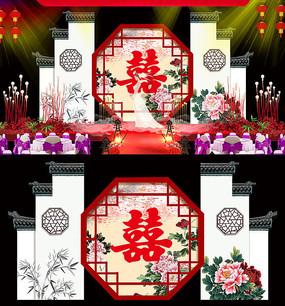 中式婚庆背景板设计