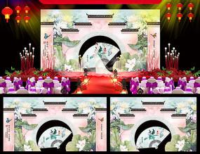 中式园林婚庆舞台背景板设计
