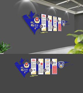 3D蓝色枫桥经验警营文化墙设计