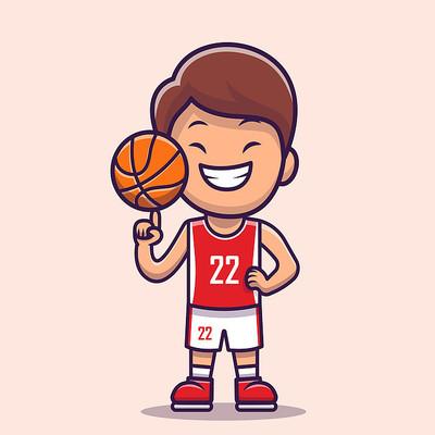 可爱原创卡通篮球运动员手绘素材