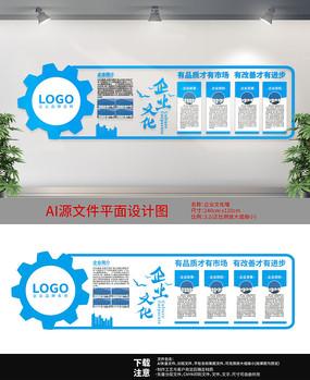 蓝色科技文化墙设计