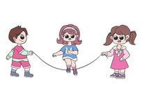 原创手绘人物卡通三个小朋友跳绳的场景插画