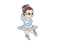原创手绘人物卡通正在跳舞的女孩插画