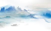 水墨山水蓝色背景墙
