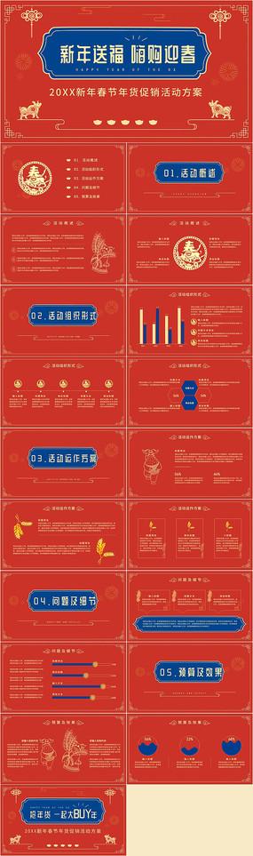红色喜庆新年送福活动策划PPT模板