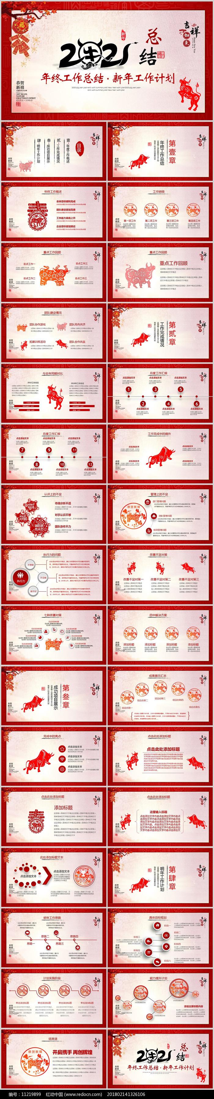 中国风2021年牛年终工作总结PPT模版图片