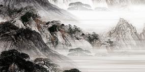 高端大气中国风中式国画背景墙