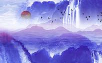 高端大气中式蓝色飞鸟山水背景墙